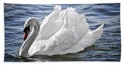 White Swan On Water Beach Towel