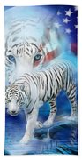 White Tiger Moon - Patriotic Beach Towel