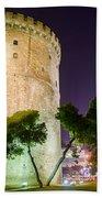 White Tower In Salonica Greece Beach Towel