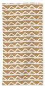 White Triangles On Burlap Beach Towel by Linda Woods