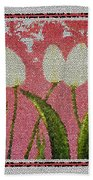 White Tulips On Pink In Stained Glass Beach Towel