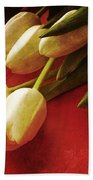White Tulips Over Red Beach Towel
