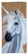 White Unicorn On Wood Beach Towel
