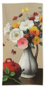 White Vase And Red Box Beach Towel