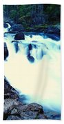 White Water On The Ohanapecosh River  Beach Towel