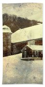 White Winter Barn Beach Towel