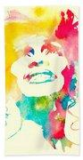 Whitney Houston Watercolor Canvas Beach Towel
