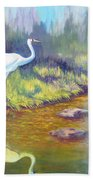Whooping Crane - Searching For Frogs Beach Towel