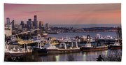 Wider Seattle Skyline And Rainier At Sunset From Magnolia Beach Towel