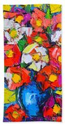Wild Colorful Flowers Beach Towel