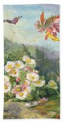 Wild Flowers And Butterfly Beach Towel by Jean Marie Reignier