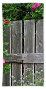 Wild Roses And Weathered Fence Beach Towel