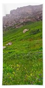 Wildflowers And Mountainous Bluffs At Point Amour In Labrador Beach Towel