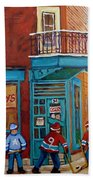Wilensky Montreal-fairmount And Clark-montreal City Scene Painting Beach Towel by Carole Spandau