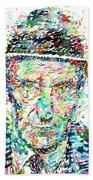 William Burroughs Watercolor Portrait Beach Towel