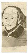 William Shakespeare Typography Portrait  Beach Towel
