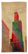 Willis Sears Tower Chicago Illinois Watercolor On Worn Canvas Series Beach Towel by Design Turnpike