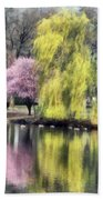 Willow And Cherry By Lake Beach Towel