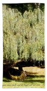 Willow Tree With Job Verse Beach Towel