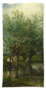 Willows With A Man Fishing Beach Towel