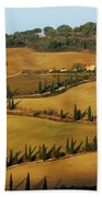 Winding Road And Cypress Trees In Tuscany 1 Beach Towel