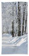 Winding Snowy Road In Winter Beach Towel