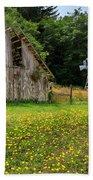 Windmill Flowers And A Barn Beach Towel