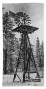 Windmill In The Snow Black And White Beach Towel