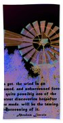 Windmill With Lincoln Quote Beach Towel