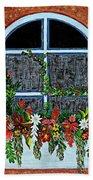 Window Flower Box On A Stucco Wall Beach Towel