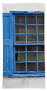 window in blue - British style window in a mediterranean blue Beach Towel