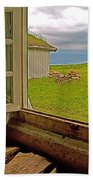 Window On Sod-covered Roof In Louisbourg Living History Museum-1744-ns Beach Towel