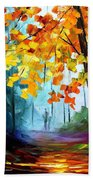 Window To The Fall - Palette Knife Oil Painting On Canvas By Leonid Afremov Beach Towel