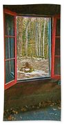 Window With View Abandoned Elkmont Log Cabin Autumn Beach Towel