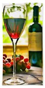 Wine And Grapes In The Window Beach Towel