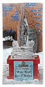 Wine Bottle Ice Sculpture Beach Towel