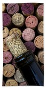 Wine Bottle With Corks Beach Towel