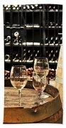 Wine Glasses And Barrels Beach Towel by Elena Elisseeva