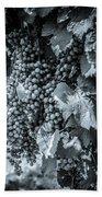 Wine Grapes Bw Beach Towel
