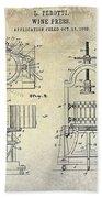 Wine Press Patent 1903 Beach Towel