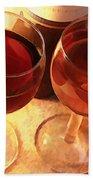 Wine Toast In Watercolor Beach Towel by Elaine Plesser