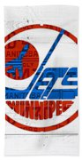 Winnipeg Jets Retro Hockey Team Logo Recycled Manitoba Canada License Plate Art Beach Towel