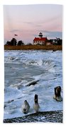 Winter At East Point Lighthouse  Beach Towel