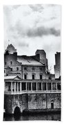 Winter At The Fairmount Waterworks In Black And White Beach Towel
