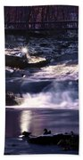 Winter At The Woodlands Waterfall In Wilkes Barre Beach Towel