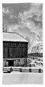 Winter Barn Monochrome Beach Towel