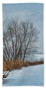 Winter Bench At Walnut Creek Lake Beach Towel