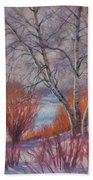 Winter Birches And Red Willows 1 Beach Towel