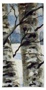 Winter Birches Beach Towel