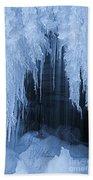 Winter Blues - Frozen Waterfall Detail Beach Towel